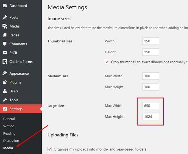 Cara membuat blog : Pengaturan ukuran media