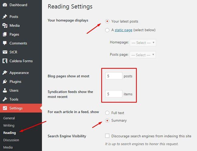 Pengaturan untuk tampilan homepage
