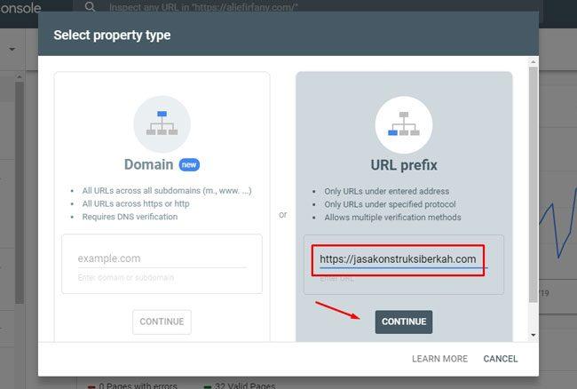 Daftar Google Webmaster : Menambahkan URL baru di Webmaster