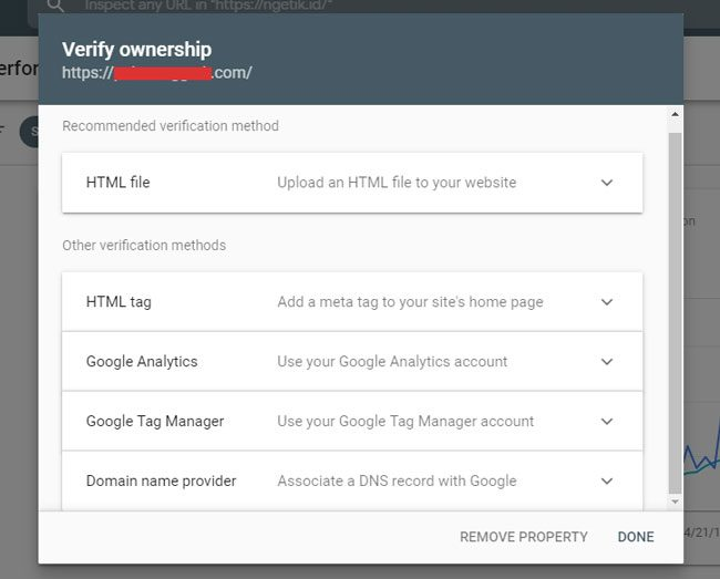 Daftar Google Webmaster : Pilihan metode verifikasi Search Console