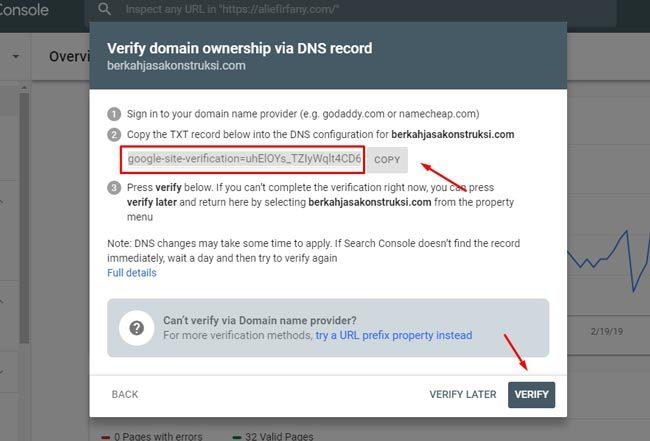 Daftar Google Webmaster : Kode verifikasi domain