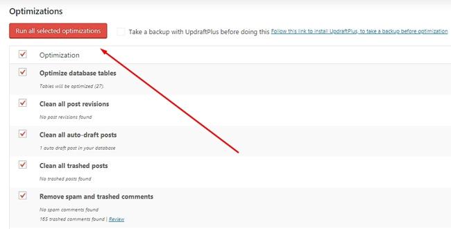 Plugin WordPress terbaik : Fitur optimasi di plugin WP Optimize