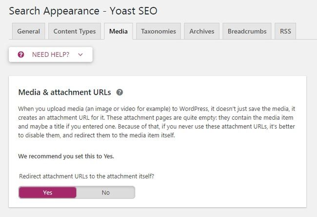 Fitur Yoast untuk disable attachment page