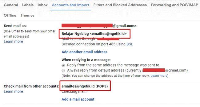 Integrasi email domain ke Gmail berhasil