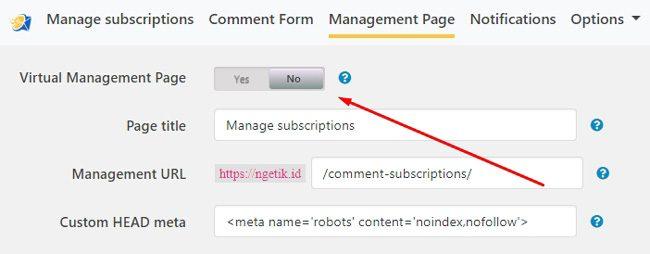Menonaktifkan fitur Virtual Management Page