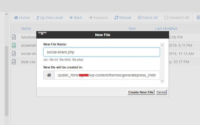 Membuat file baru social-share.php