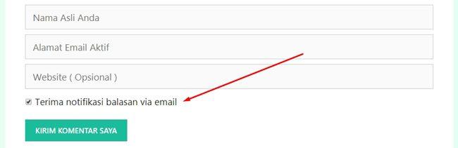 Mengaktifkan fitur notifikasi komentar user