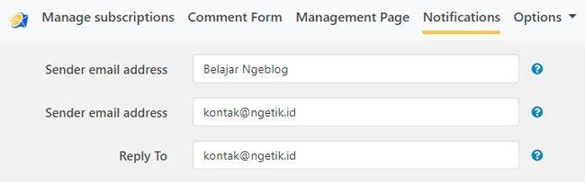 Nama dan emai pengiriman notifikasi komentar