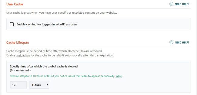 User cache dan cache lifespan