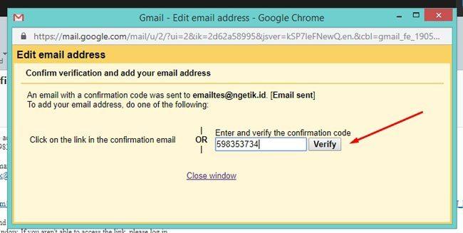 Verifikasi kepemilikan email baru