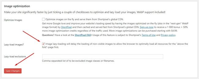 Pengaturan optimasi gambar di Autoptimize