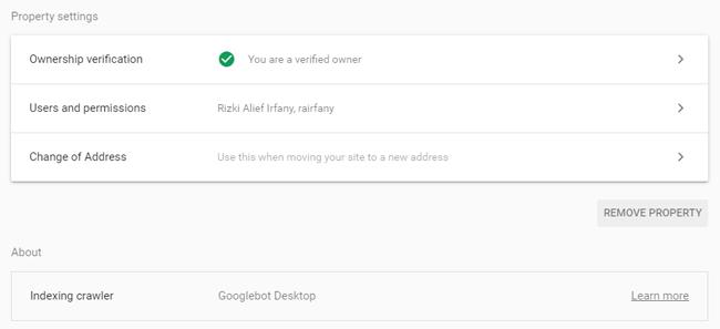 Pengaturan Google Webmaster