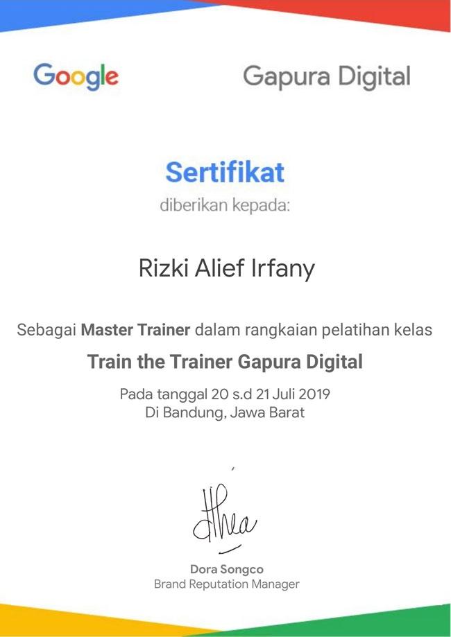 Sertifikat Master Trainer Gapura Digital