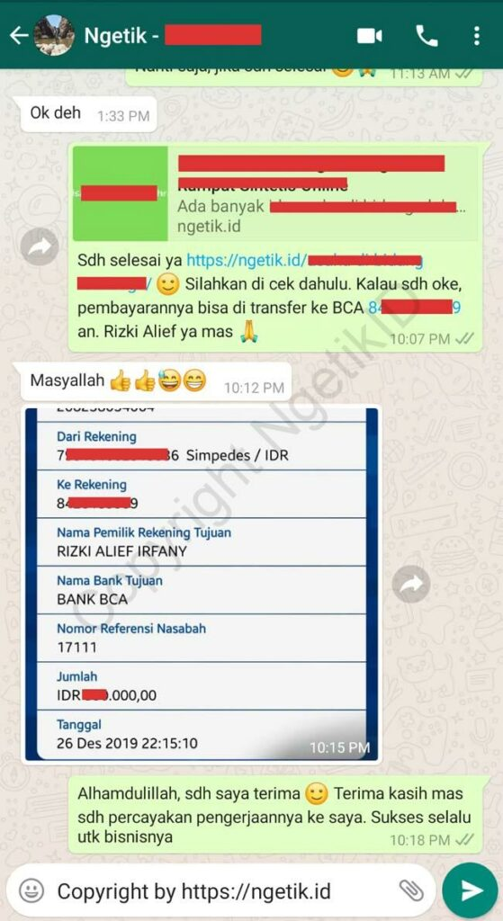 Testimoni jasa content placement / review bisnis Ramdhani
