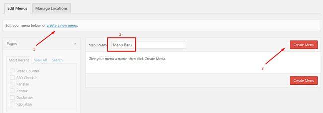 Membuat menu baru di WordPress