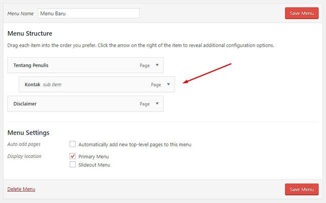 Cara membuat sub menu di WordPress