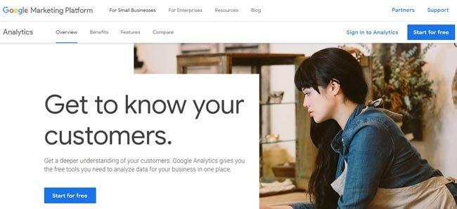 Halaman depan Google Analytics
