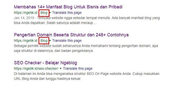 Contoh tampilan URL di mesin pencari