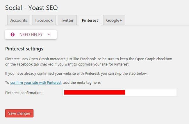 Cara setting Yoast SEO : Integrasi dengan Pinterest