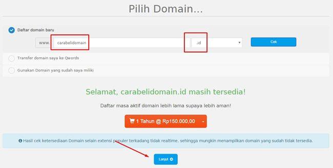 Memeriksa ketersediaan nama domain