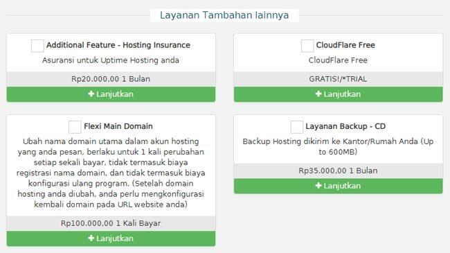 Layanan tambahan pembelian hosting