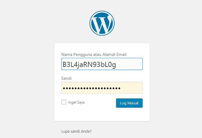 Login dashboard WordPress