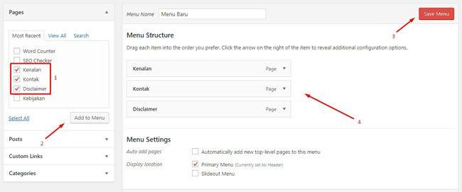 Menambahkan Page ke dalam menu WordPress