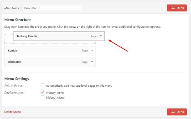 Cara mengubah urutan menu di WordPress