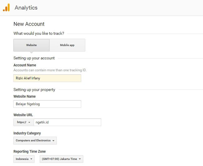 Mengisi data akun baru Google Analytics