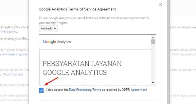 Halaman persyaratan pengguna Google Analytics