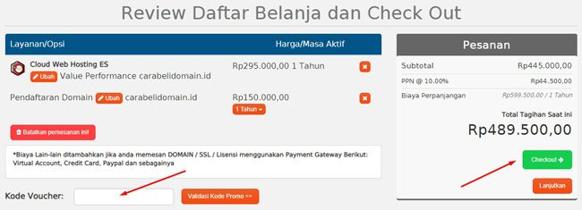 Review pembelian domain dan hosting