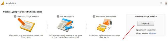 Sign up Google Analytics