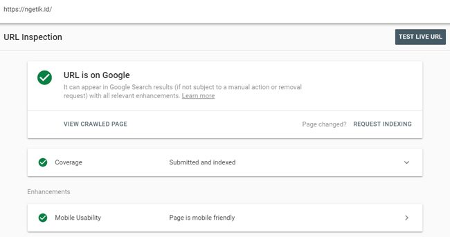 Fitur URL inspection di Webmaster