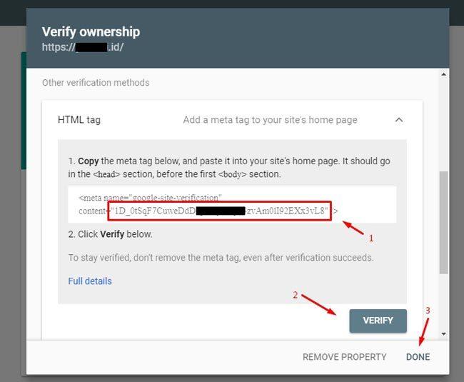 Daftar Google Webmaster : Memilih metode verifikasi properti di Webmaster