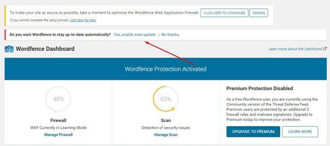 Halaman dashboard Wordfence