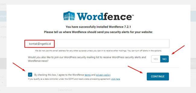 Email kontak notifikasi Wordfence