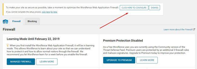 Opsi konfigurasi Wordfence firewall