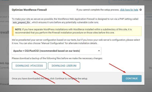 Aktivasi fitur firewall di Wordfence