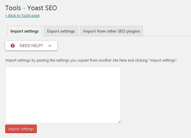 Cara setting Yoast SEO : Fitur import & export pengaturan