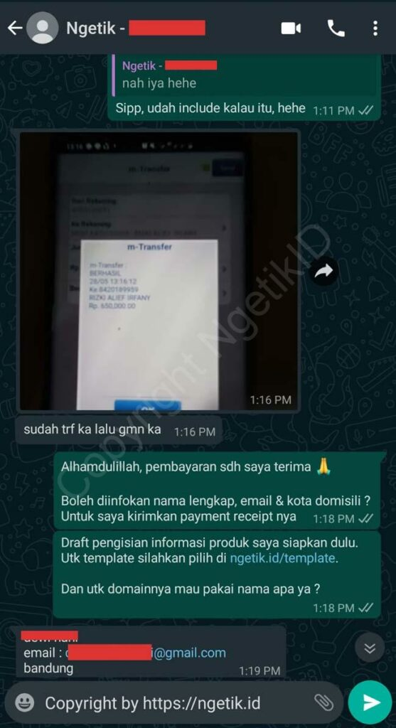 Testi jasa buat landing page Dewi Hani