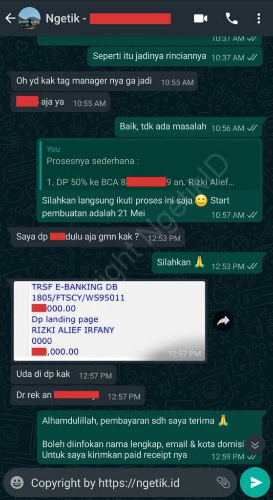 Testi jasa buat landing page Fendi Suhendra