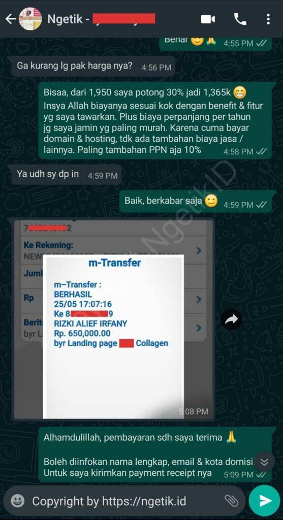 Testi jasa buat landing page Iyar Suryani