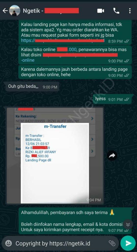 Testi jasa buat landing page Azri Syuhada