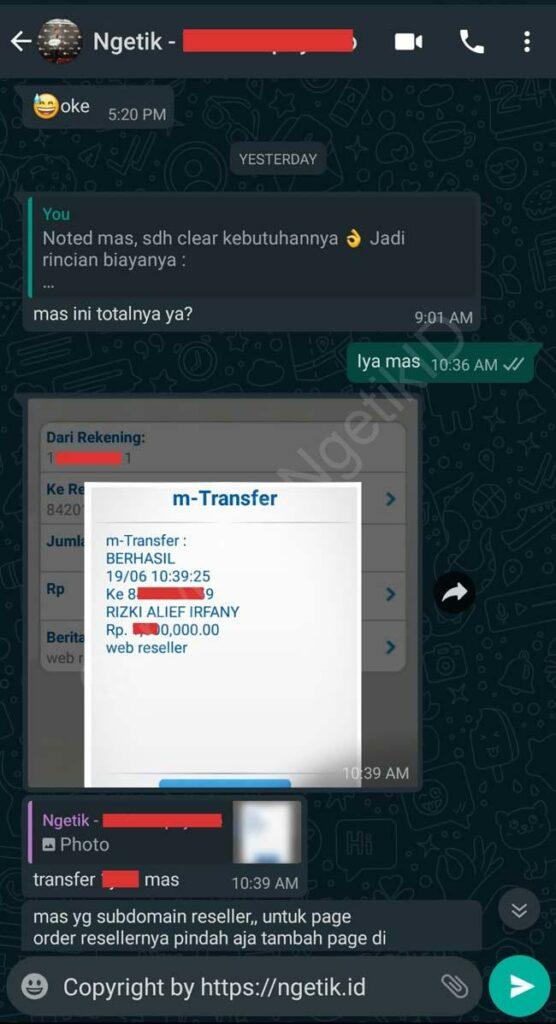 Testi jasa buat landing page Reseller Indra