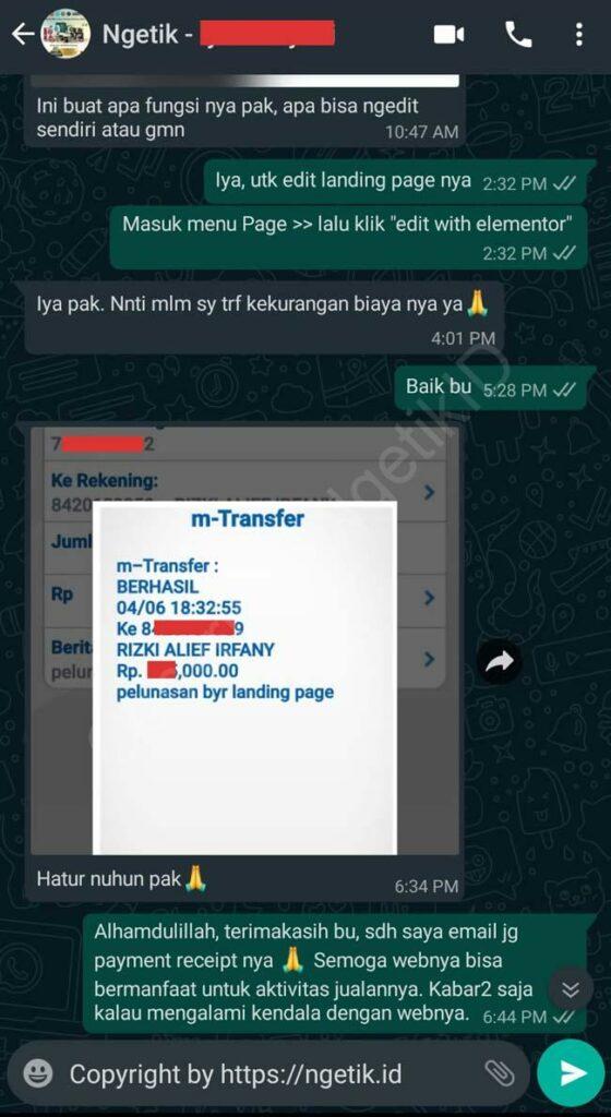 Testi jasa buat landing page Iyar S