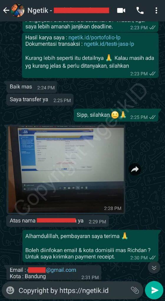 Testi jasa buat landing page Richdan Sukmara