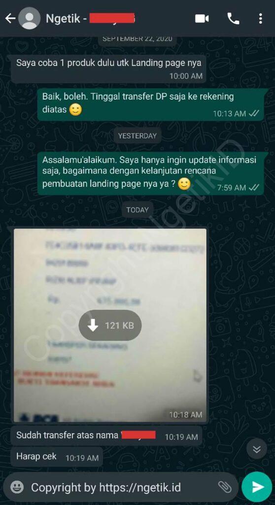 Testi jasa buat landing page Widiya G