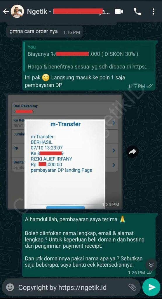 Testi jasa buat landing page Kevin Marta Wijaya