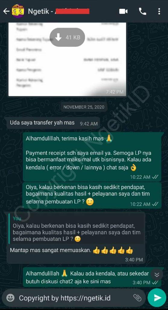 Testi jasa buat landing page Arif Sobari
