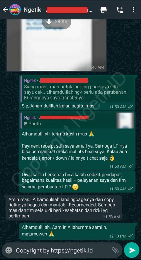 Testi jasa buat landing page Alex Muhammad Sofiyanto